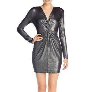 Aqua L Dress Metallic Silver Twist Front Wrap Date